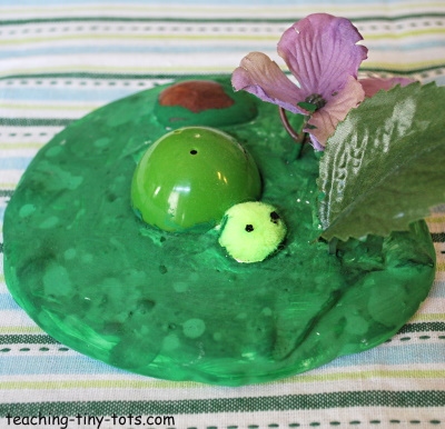 Make a turtle scene with plaster of paris.