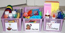 baskets to organize art supplies