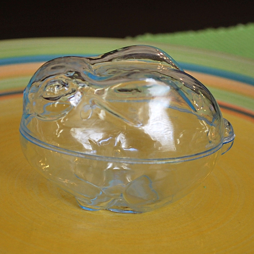 Plastic container used to make a bunny soap.