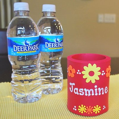 Make a cute personalized can hug or coozie to keep water cool this summer.