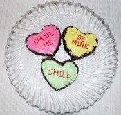 Conversation heart brownies.