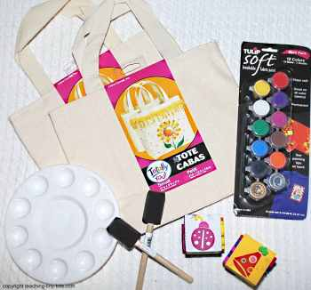 decorate a tote bag with paint and stamps
