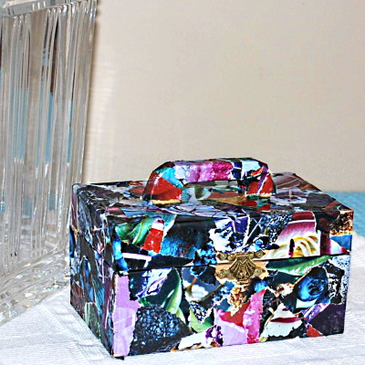 Decoupage a trinket or a jewelry box using magazine pages and Mod Podge.