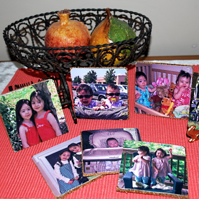 Make these decoupage coasters with favorite pictures.