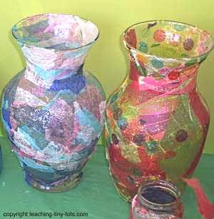Decoupage a large jar.