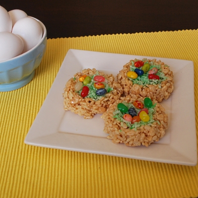 Make these cute Easter Rice Krispies Nests with Jelly Belly Eggs.