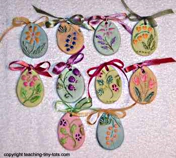 Easter Egg Salt Dough Ornaments