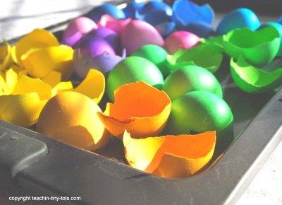 Colored eggshells