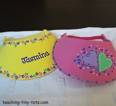 Decorate a foam visor.