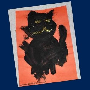 halloween cat with tempera