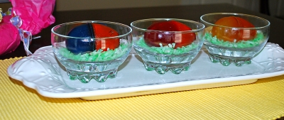 Jello Eggs with Coconut Easter Grass