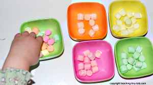 sorting marshmallows by color