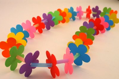 Flower and straw lei