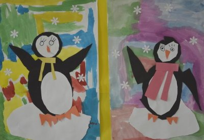 Mixed media penguin picture using paint and construction paper to make the penguin.