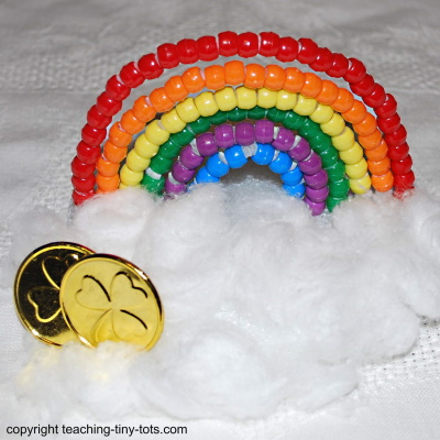 Make a rainbow with Pony beads.