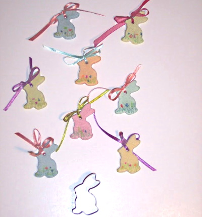 Making rabbit ornaments for Easter with Salt Dough.