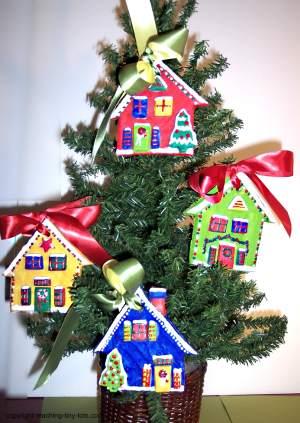 Salt Dough Christmas Cottage Ornaments on tree