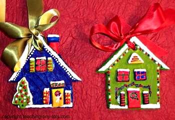 Salt Dough Christmas Cottage Ornaments with pattern.