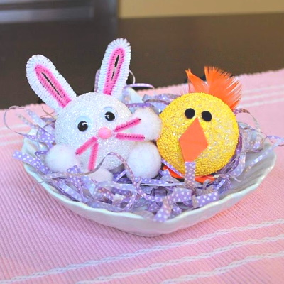 Cute Easter Chick and Bunny out of styrofoam balls.