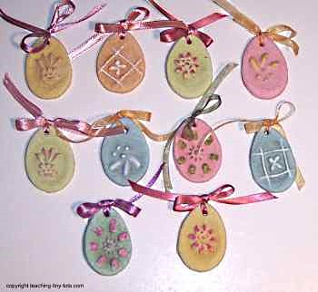 Salt dough ornaments using cookie stamps.