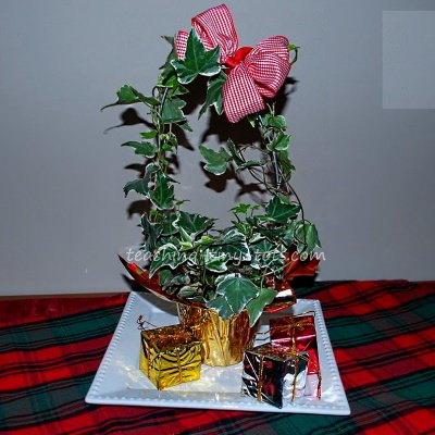 Kids Making this Christmas Topiary using Ivy