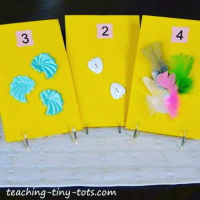 Make these cute touch and feel pages to post in a classroom as a visual aid to counting.