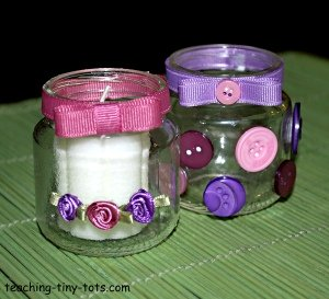 Make a baby food jar candle holder