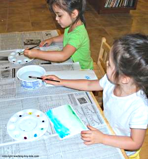 Painting with watercolors.