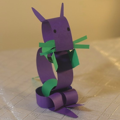 Chinese zodiac rat made with colored construction paper strips.