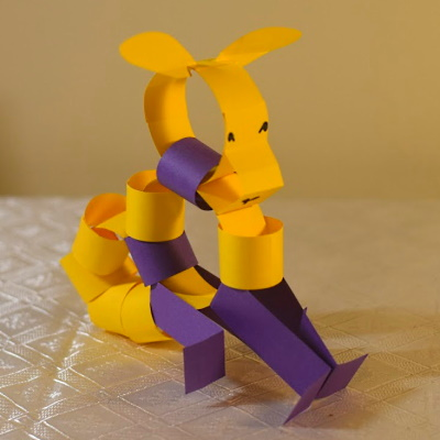 Chinese zodiac sheep made of colored construction paper strips.